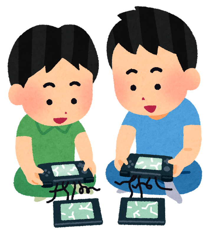 壊れた携帯ゲーム機で遊ぶ子供のイラスト | かわいいフリー素材集 ...